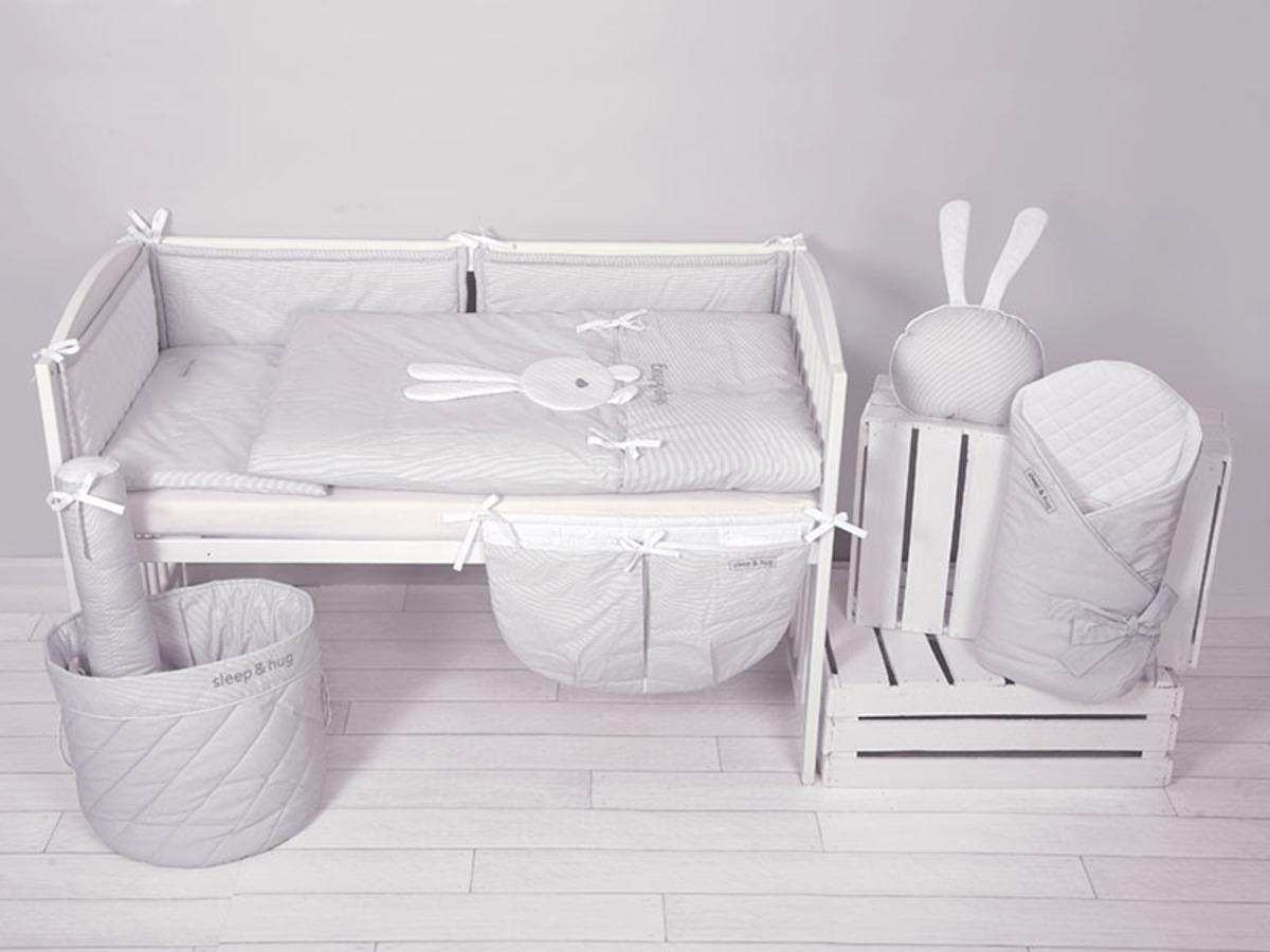 Dětské 2-dílné povlečení sleep & hug - šedé 35x35 cm Koš na hračky