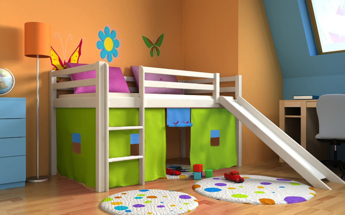 Dětská vyvýšená postel Ourbaby Modo 180x80 cm bílá