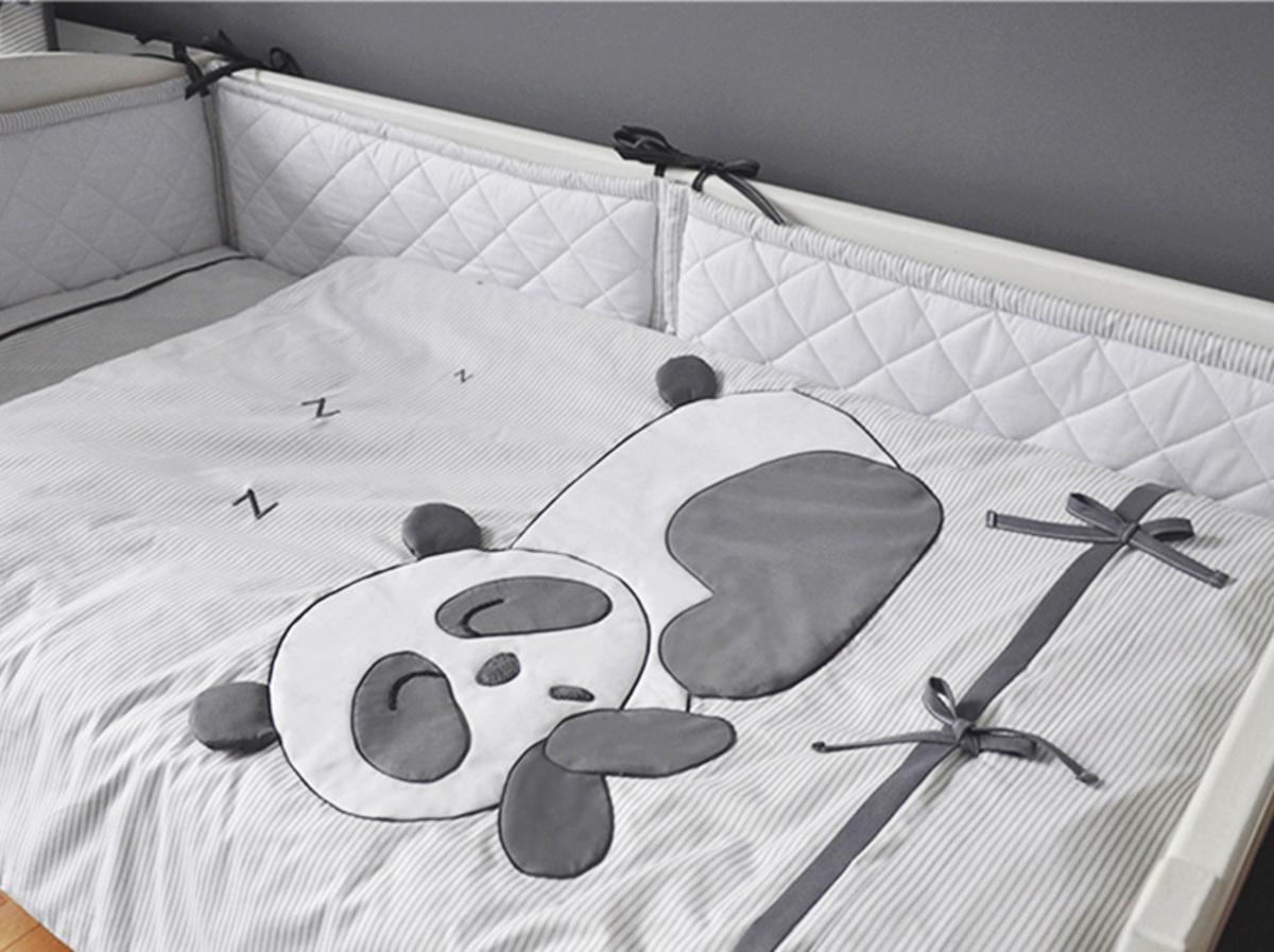 Dětské 3-dílné povlečení Panda - šedá Koš na hračky 35x35 cm