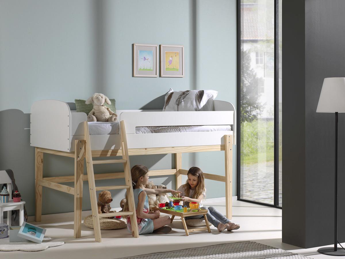 Dětská vyvýšená postel VIPACK FURNITURE Kiddy 200x90 cm přírodní bílá