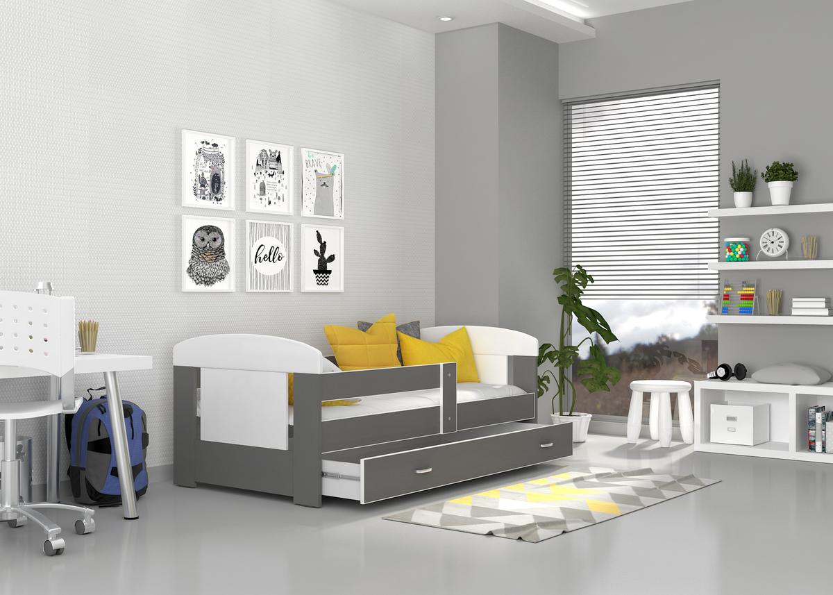Dětská postel se zábranou Ourbaby Filip 160x80 cm šedá