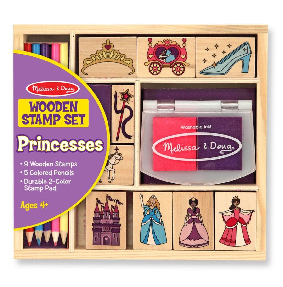 Melissa & Doug - sada dřevěných razítek Princezna Princess stamp set