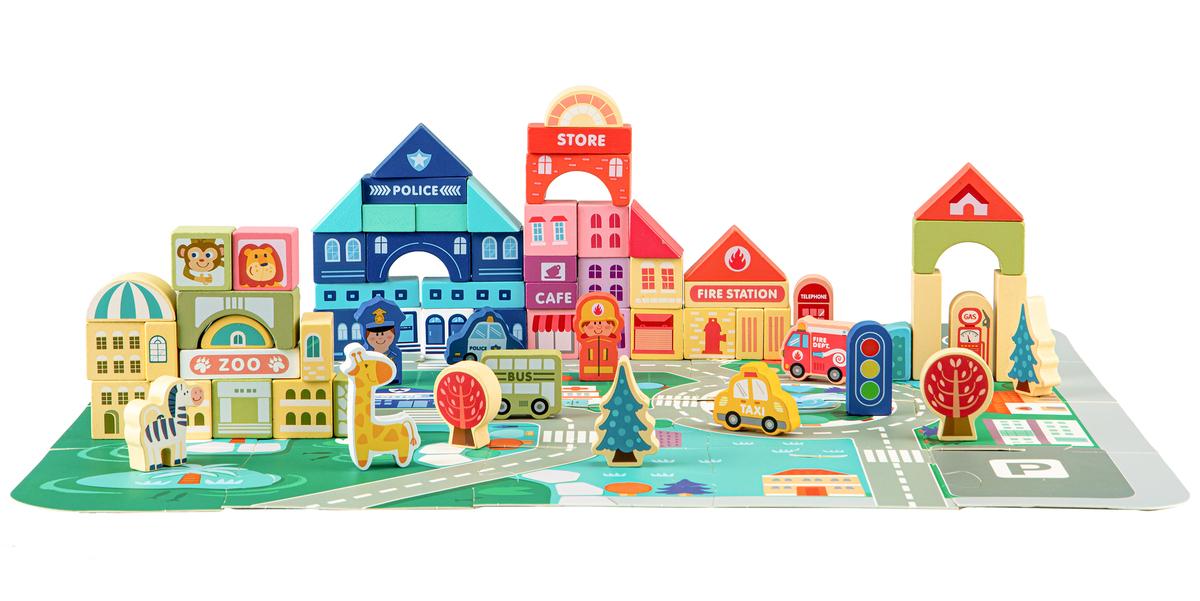 Dřevěné městečko s podložkou 120 kusů wooden blocks pieces
