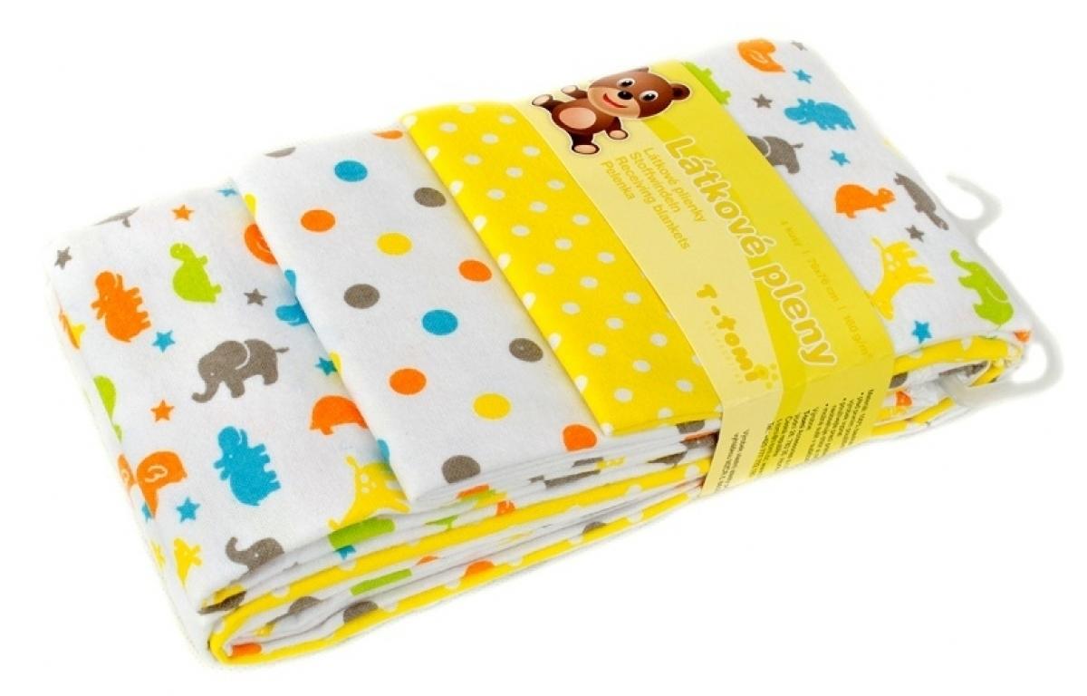 Dětské látkové pleny s potiskem žlutá žirafa