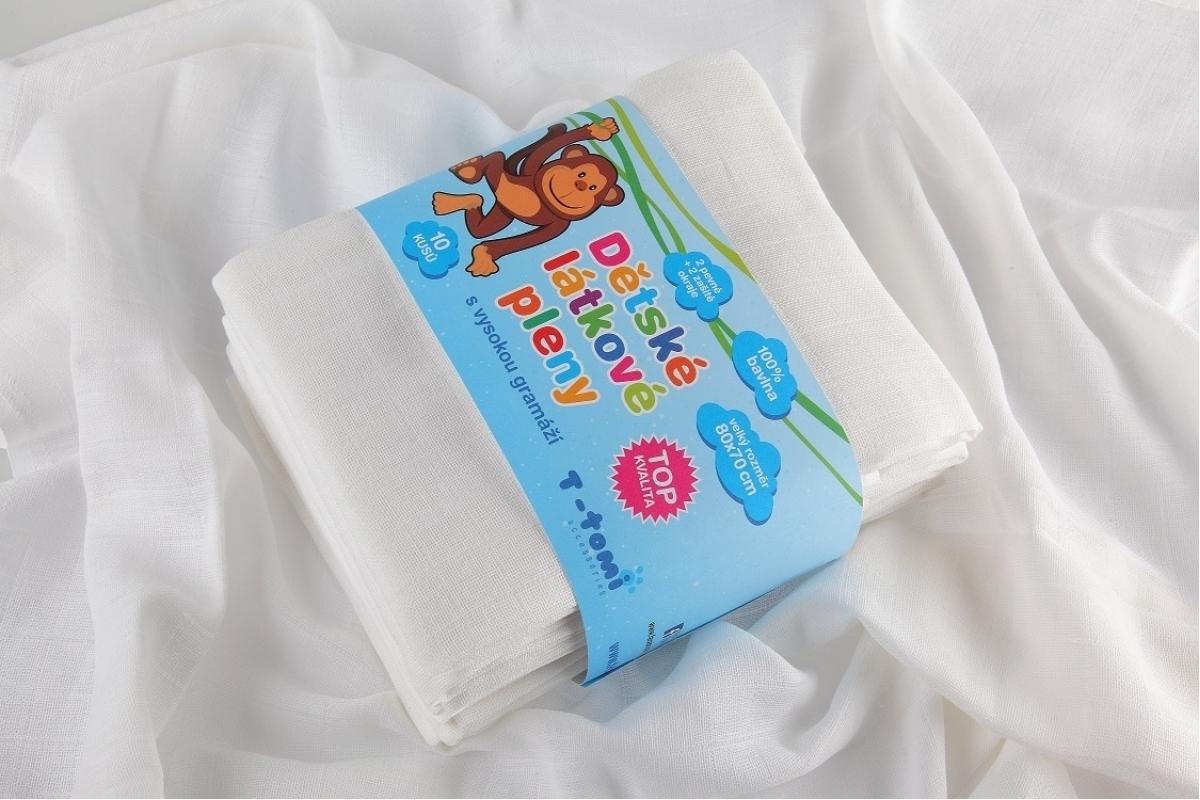 Dětské látkové TETRA pleny - TOP bílá 10 ks