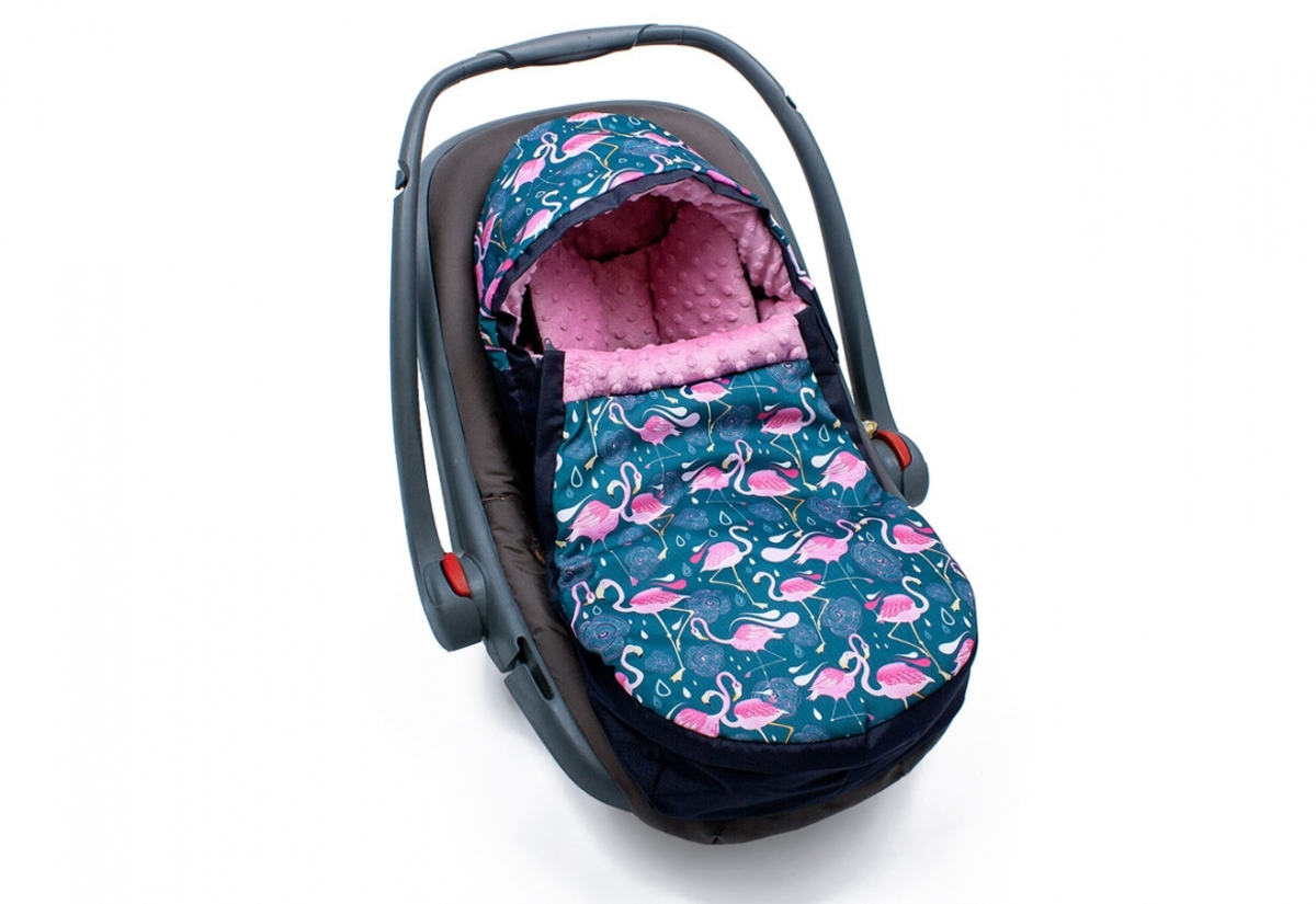 Fusak do autosedačky Minky - Plameňáci Egg footmuff Flamingo