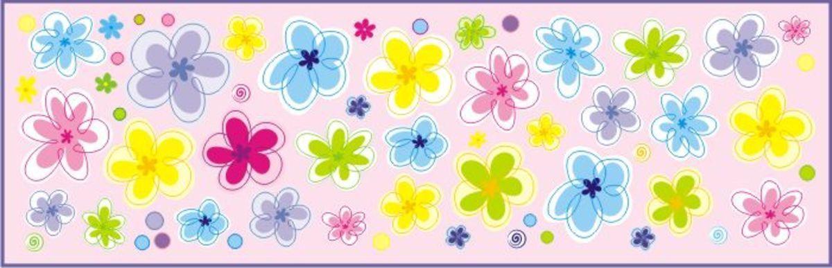 Samolepka na zeď Mint Kitten Flowers 643-0, 0.5 m²