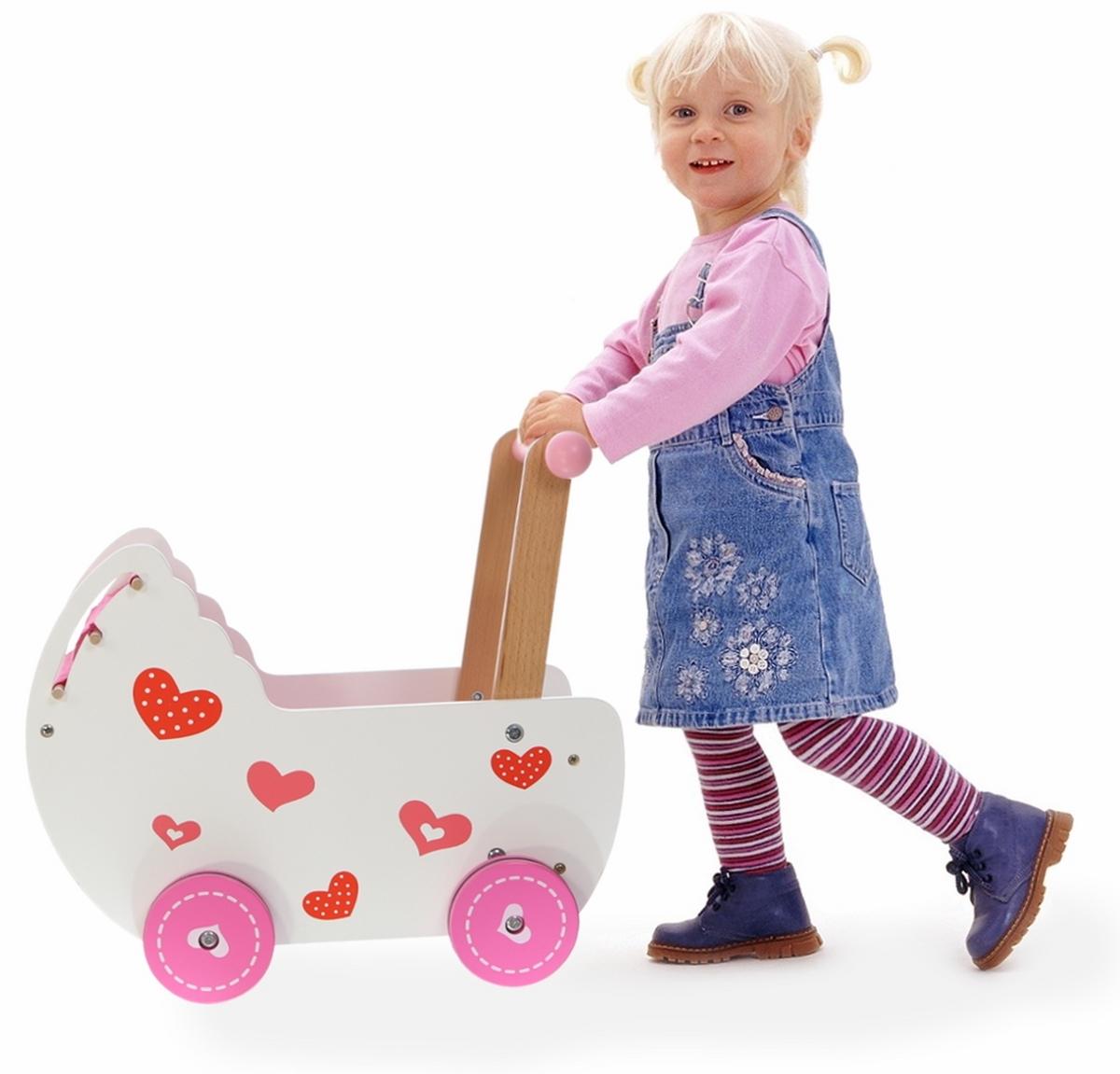 Dřevěný kočárek pro panenky