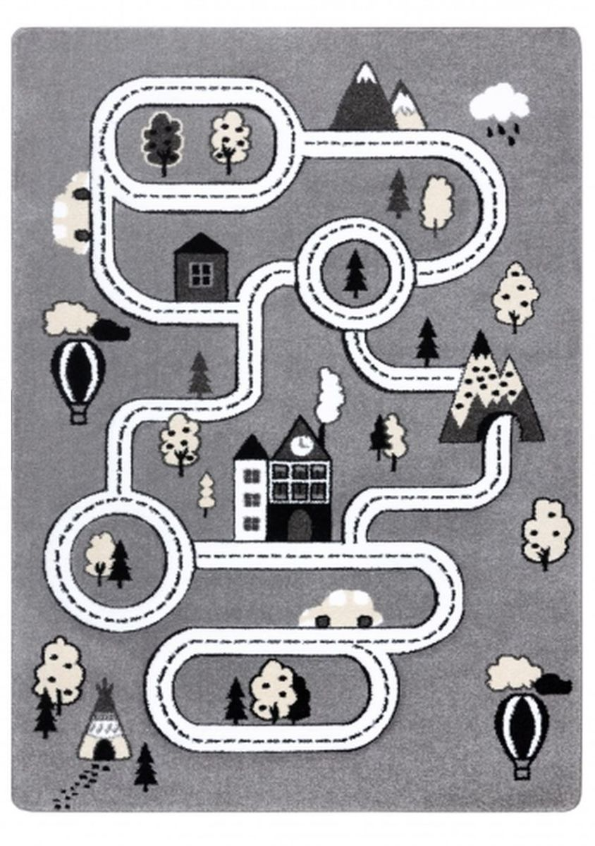 Dětský koberec PETIT - Město a silnice - šedý Town rug - grey 140x190 cm