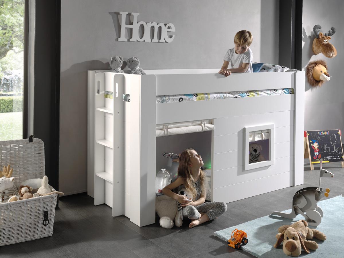 Dětská vyvýšená postel VIPACK FURNITURE Noah 200x90 cm bílá