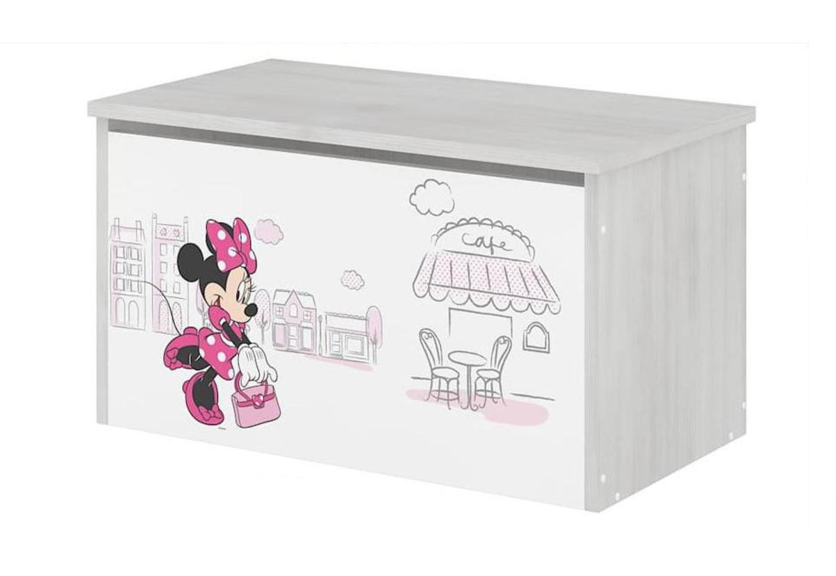 Dřevěná truhla na hračky - Minnie Mouse v Paříži - dekor norská borovice toy chest Paris