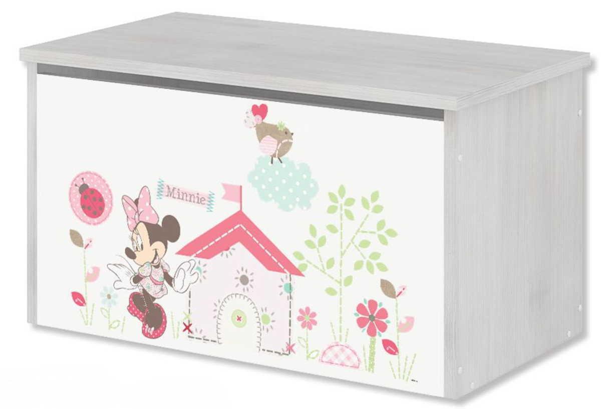 Dřevěná truhla na hračky - Minnie Mouse - dekor norská borovice toy chest