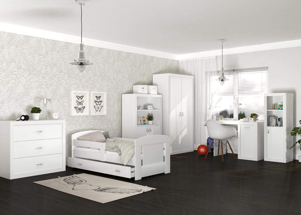 Dětský pokoj Filip - bílý postel + úložný prostor 180x80 cm