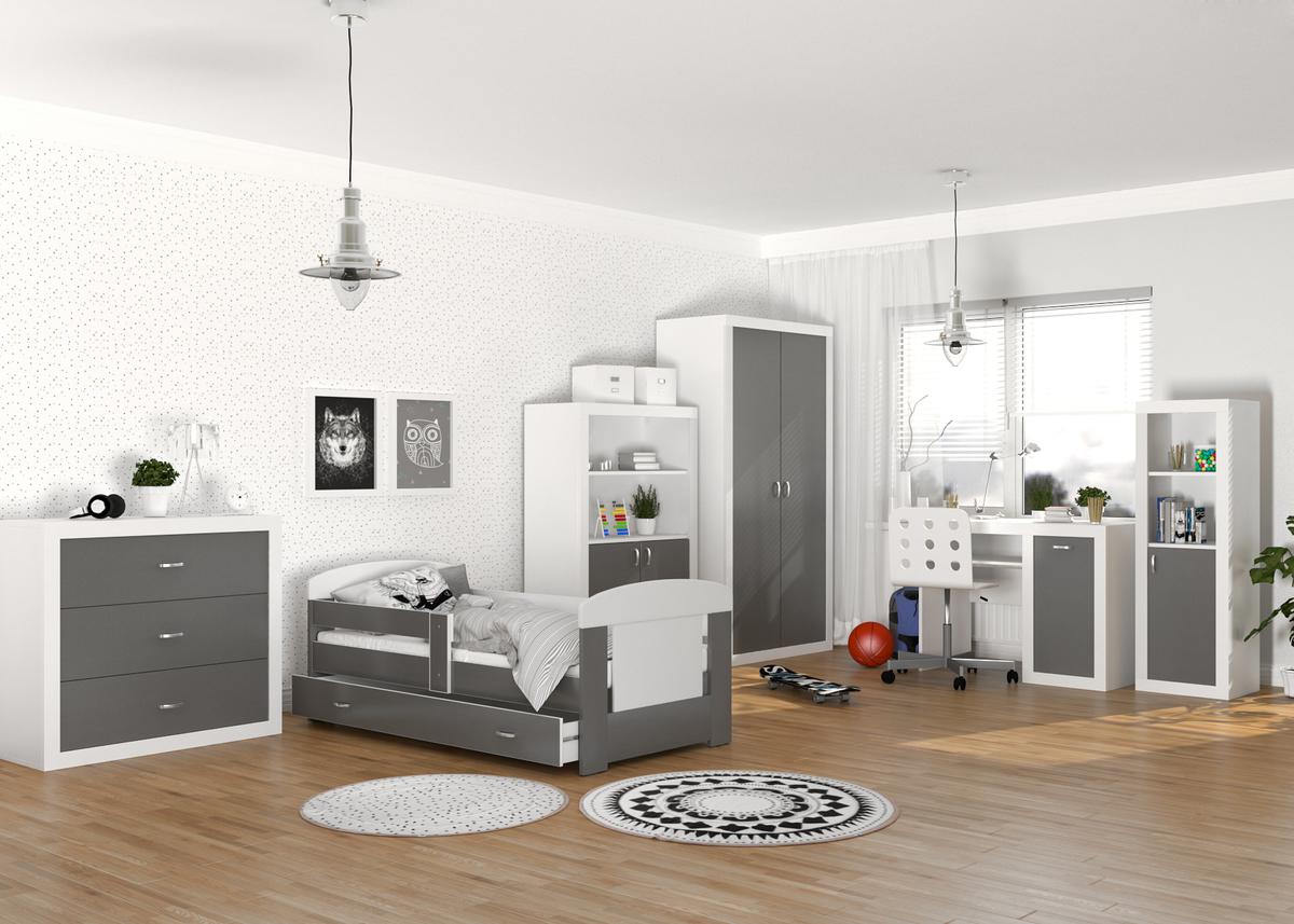 Dětský pokoj Filip - bílo-šedý skříň