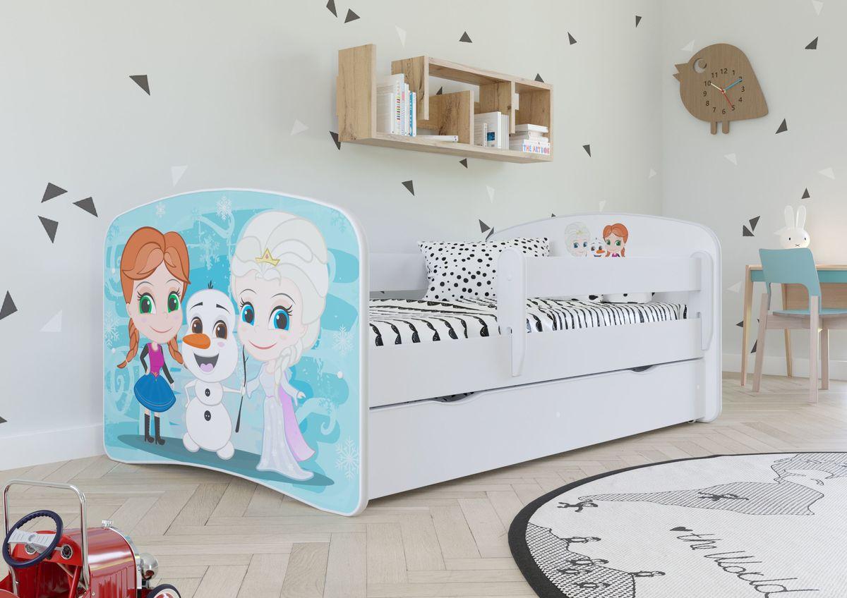Dětská postel se zábranou Ourbaby Frozen 2 140x70 cm bílá