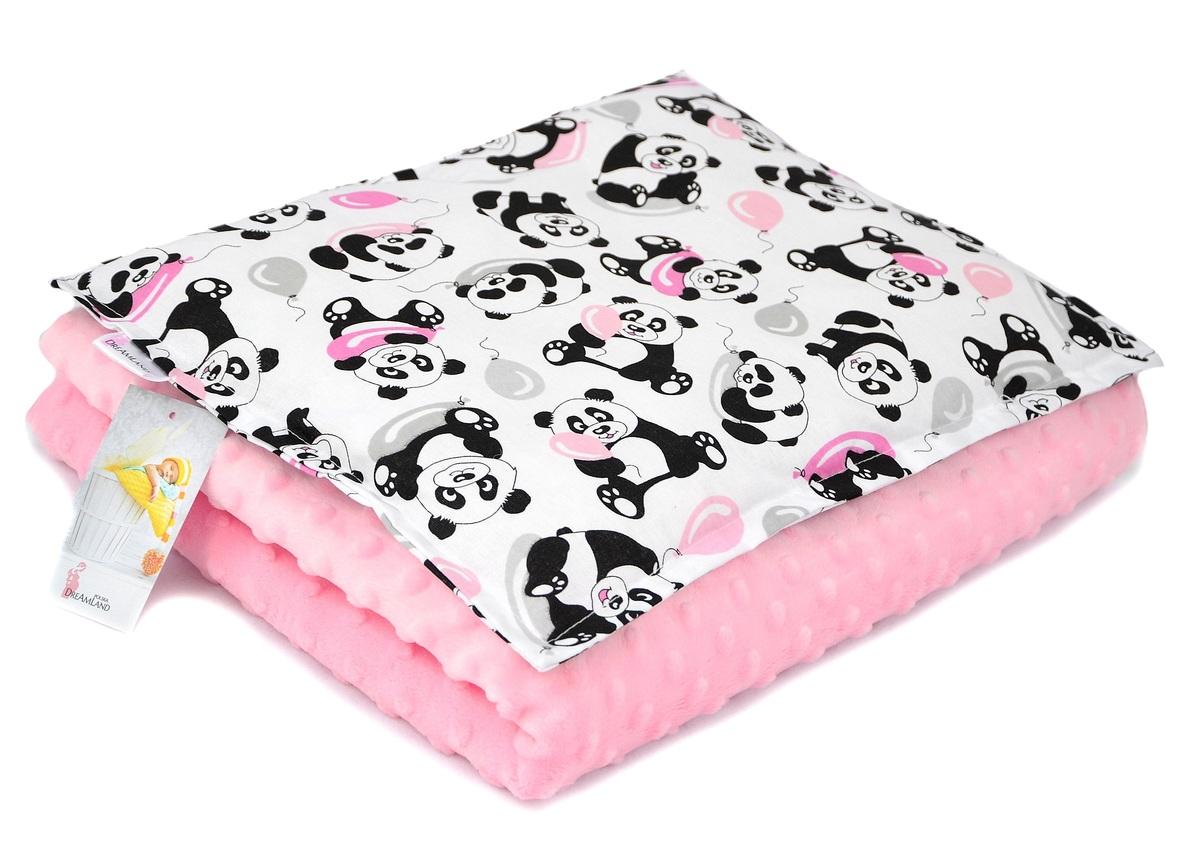Dětská deka a polštář M Panda - růžová