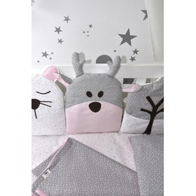Mantinel do postýlky ružovo-šedý, Studio Kit